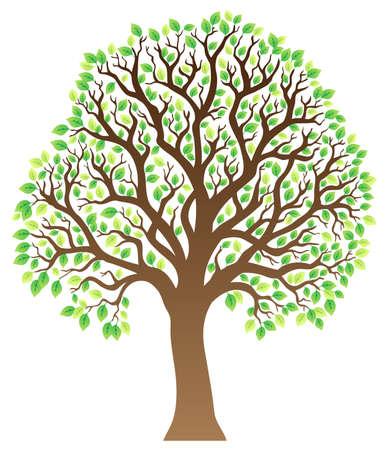 leafy trees: �rbol con hojas verdes 1 - ilustraci�n vectorial. Vectores