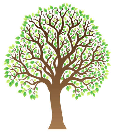 leafy: Tree with green leaves 1 - vector illustration.