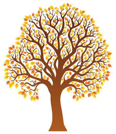 arboles frondosos: Árbol con hojas de naranja 1 - ilustración vectorial.