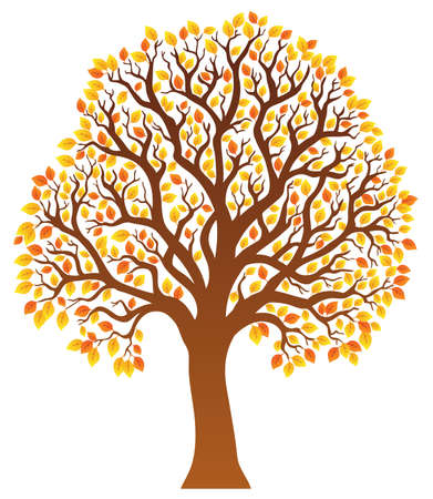 leafy: Tree with orange leaves 1 - vector illustration.