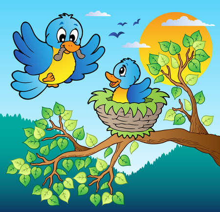 animal nest: Two blue birds with tree branch - vector illustration.