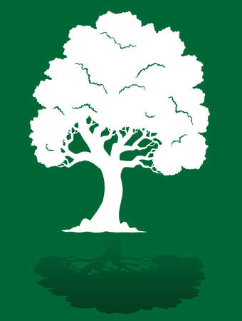 treetop: White tree on green background 1 - vector illustration. Illustration