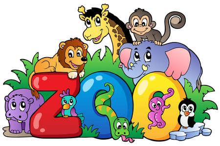 illustration zoo: Zoo di firmare con vari animali - illustrazione vettoriale. Vettoriali