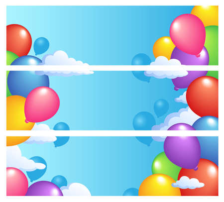 float fun: Banners with balloons 1 - vector illustration.