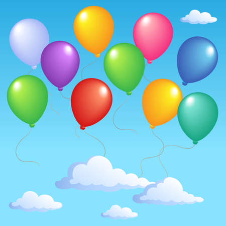 Blue sky with inflatable balloons 1 - vector illustration. Stock Vector - 12165831