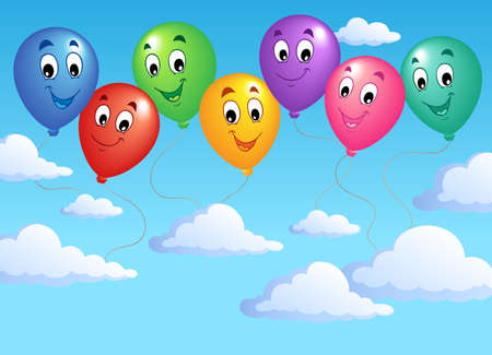 inflatable: Blue sky with inflatable balloons 2 - vector illustration.