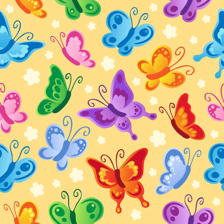 Butterfly seamless background 1 - vector illustration.