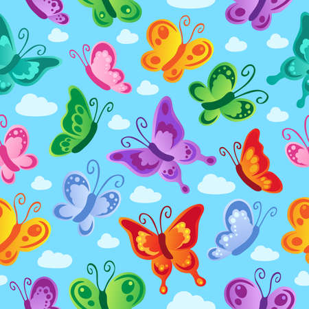 butterflies flying: Butterfly seamless background 2 - vector illustration.
