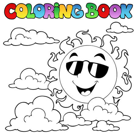 coloring book: Coloring book with Sun and clouds 1 - vector illustration.