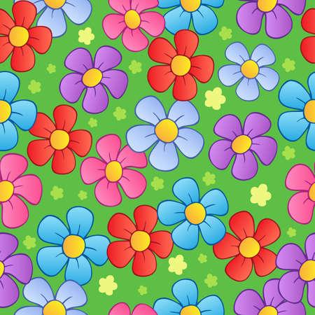 springtime: Flowery seamless background 1 - vector illustration. Illustration