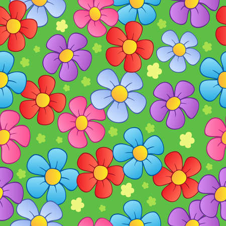 Flowery seamless background 1 - vector illustration. 向量圖像