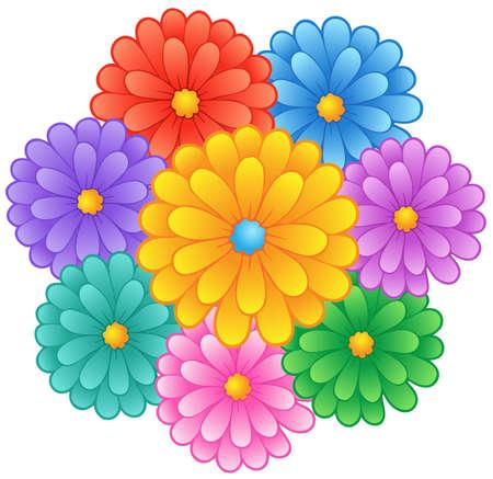 테마: 꽃 테마 이미지 1 - 벡터 일러스트 레이 션입니다.