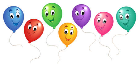 birthday balloon: Group of cartoon balloons 3 - vector illustration. Illustration