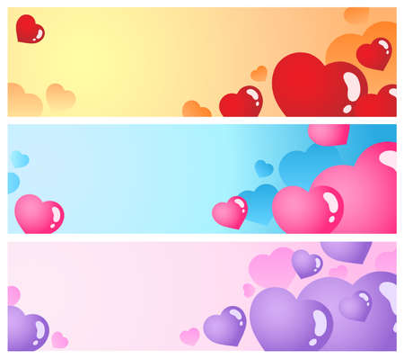 Heart banners collection 1 - vector illustration. Stock Vector - 12165815