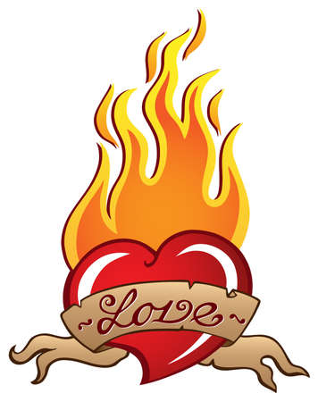 fire heart: Heart theme image 3 - vector illustration.