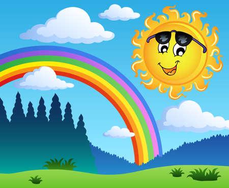 Landschap met regenboog en zon 1 - vector illustratie. Vector Illustratie