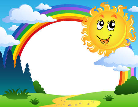 cartoon summer: Landscape with rainbow and Sun 2 - vector illustration.