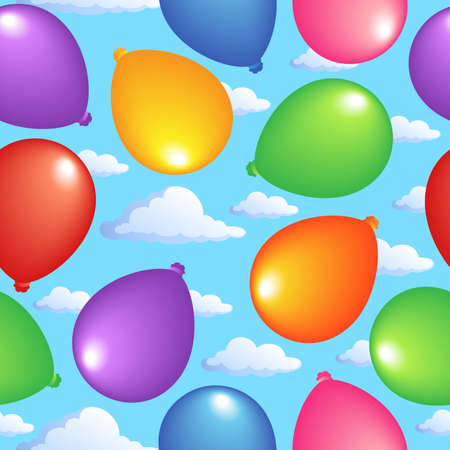 Seamless background with balloons 2 - vector illustration. Stock Vector - 12165859