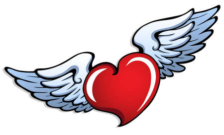heart shaped: Stylized heart with wings 1 - vector illustration.