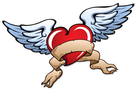 Stylized heart with wings 2 - vector illustration. Stock Vector - 12165817