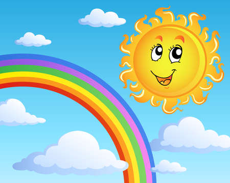 Sun with clouds theme 2 - vector illustration.