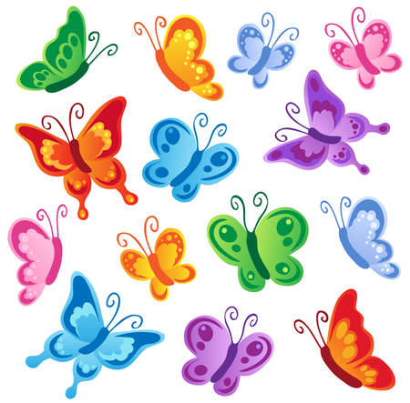 cartoon butterfly: Various butterflies collection 1 - vector illustration.
