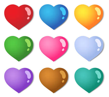 vector hearts: Various color hearts collection 1 - vector illustration.