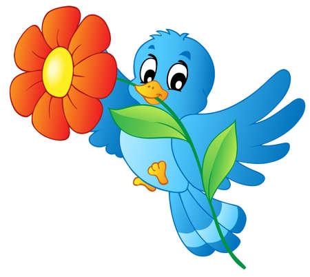 birdie: Uccello blu con fiore - illustrazione vettoriale.