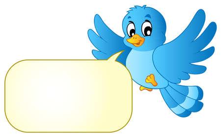 birdie: Uccello blu con bolla fumetto - illustrazione vettoriale.