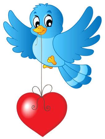 bluebird: Blue bird with heart on string - vector illustration.