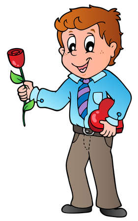 Boy with flower - vector illustration. Vector