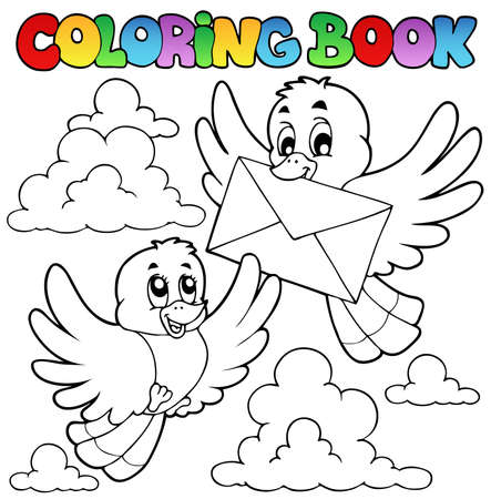 Coloring book birds with envelope - vector illustration. Stock Vector - 12482846