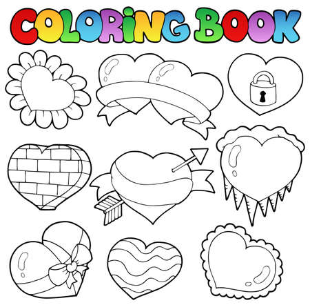 Coloring book hearts collection 1 - vector illustration. Stock Vector - 12482859