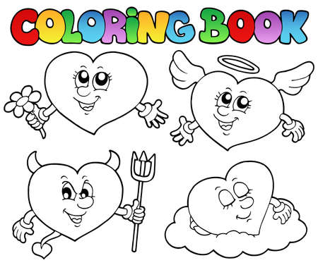 Coloring book hearts collection 2 - vector illustration. Stock Vector - 12482816