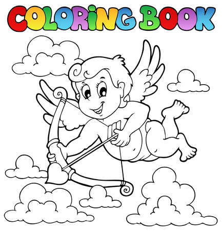 Coloring book Valentine theme 1 - vector illustration. Vector