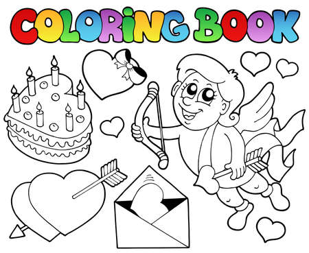 Coloring book Valentine theme 4 - vector illustration. Vector