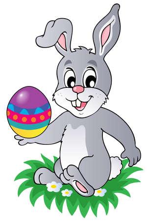 eggshells: Conejo de Pascua de la imagen el tema 1 - ilustraci�n vectorial.