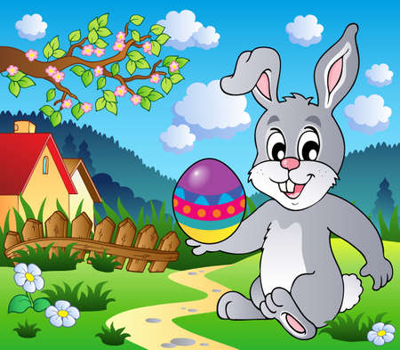 bunny cartoon: Easter bunny theme image 4 - vector illustration.