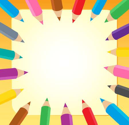 utiles escolares: Marco con l�pices de colores 1 - ilustraci�n vectorial.