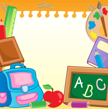 Frame with school supplies 2 - vector illustration. Vector