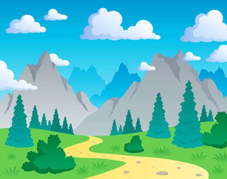 Mountain theme landscape 1 - vector illustration. Illustration