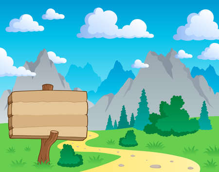 mountain view: Mountain theme landscape 2 - vector illustration.