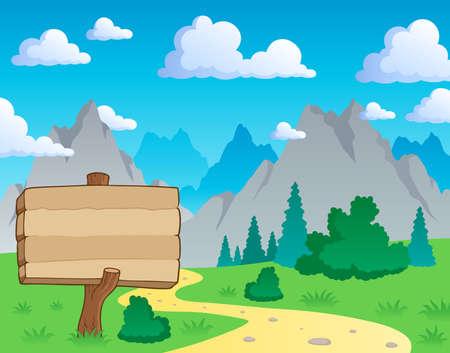notice: Mountain theme landscape 2 - vector illustration.