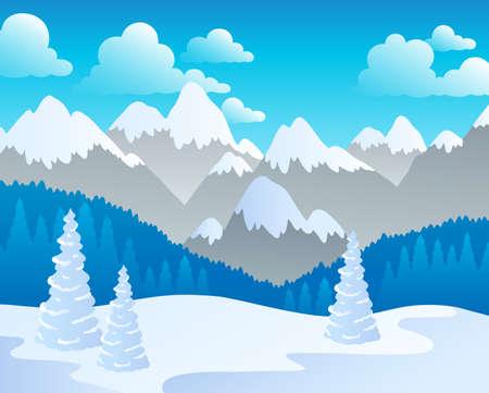 montañas nevadas: Montaña tema del paisaje 4 - ilustración vectorial.