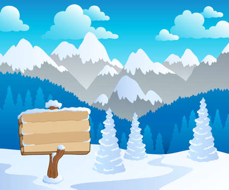 Mountain theme landscape 5 - vector illustration. Vector