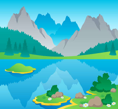 lake shore: Mountain theme landscape 6 - vector illustration.