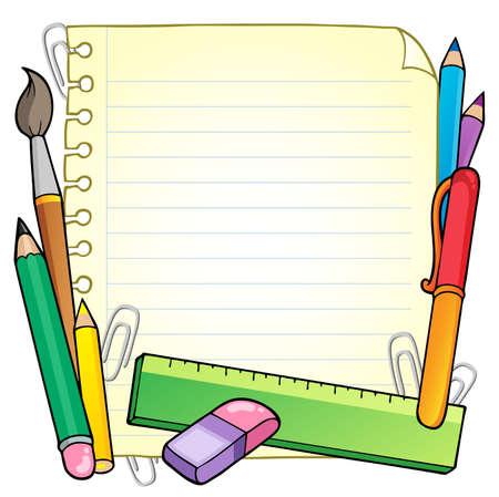 escuela caricatura: Bloc de notas de p�gina en blanco y art�culos de papeler�a 1 - ilustraci�n vectorial.