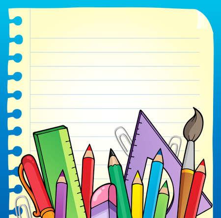 escuela caricatura: Bloc de notas de página en blanco y papelería 2 - ilustración vectorial.