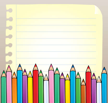 Notepad blank page with crayons - vector illustration. Vector