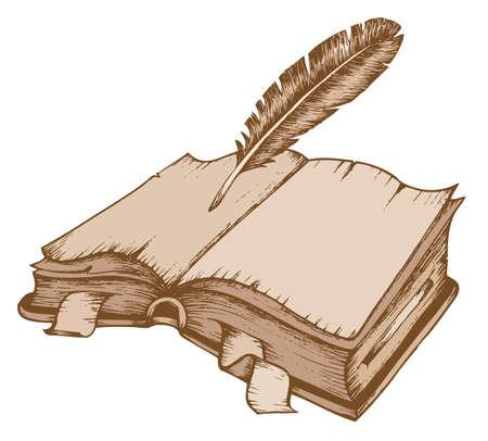 Old book theme image 1 - vector illustration. Vector